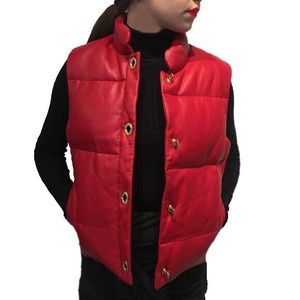 COACH Red Leather Puffer Vest NWT